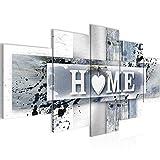 Bilder Home Herz Wandbild 200 x 100 cm Vlies - Leinwand Bild XXL Format Wandbilder Wohnzimmer Wohnung Deko Kunstdrucke Violett 5 Teilig - Made IN Germany - Fertig zum Aufhängen 504551c
