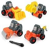 BeebeeRun Montage Spielzeug,Spielzeug Auto Set,Bagger, Bulldozer, Straßenwalze, Bohr Auto,26 TLG,Spielzeug 4 Jahre Jungen Mädchen Kinder