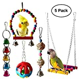 Umiwe 5 Stück Bunten Vogel Papagei Glöckchen Swing Spielzeug, Vögel Papagei Naturholz Hängematte Hängenden Barsch für Sittiche Papageien, Aras, Kakadus, Sittiche, Käfigspielzeug (S1)