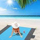 Glymins Picknickdecke Stranddecke Strandmatte sandfrei 200x200cm tragbar wasserdicht sandfrei schnell trocknend Campingdecke mit 6 Pfähle