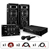 DJ-24M Karaoke-Komplett-Set tolle Party-Musikanlage mit DJ-Mixer, 1200 Watt PA Boxen + Verstärker inkl. Kabel-Set & 2 Mikrofone ( für bis zu 150 Personen, USB - & Stereo-Cinch Eingang, 4x 16cm Subwoofer)