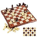 UNEEDE Magnetisch Schachspiel 31.2x31.2CM Einklappbar Schachbrett Pädagogische mit Magnetischem,Damespiel Deluxe 2in1 Schach Portable Klappbrett Design für Kinder und Erwachsene,Reisen