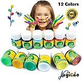 Magicdo Waschbare Fingerfarbe, 12 Farben Kinder Lack Set, 1 Unze Weithals Flaschen für Kunst, Handwerk und Poster, Finger Paint Kit, Perfekt für Ostern Geschenke (12FarbenX 30 ml)