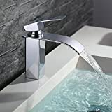 Homelody Bad Waschbecken Armatur Chrom Wasserfall Wasserhahn Badarmatur Mischbatterie Armatur Einhebelmischer Waschbeckenarmatur Waschtischarmatur Waschtischbatterie Waschtischmischer