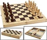 Schach, Dame, Backgammonspiel aus Holz in der Klappbox
