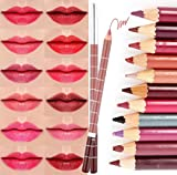 CINEEN 28 Verschieden Farben Professionelle LipLiner Lippenstift Lippenkonturenstift Wasserdichte Lidstrich Pencil Set mit Deckel