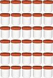30 Salbendöschen, Creme-döschen, Salbenkruken hoch, 12ml Inhalt mit orangen Deckeln - MADE IN GERMANY