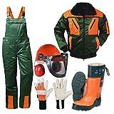 Forstschutz Set 4 teilig KWF geprüfte Schnittschutzhose + Schnittschutzstiefel +Forsthelm +Jacke