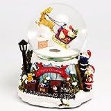 XL LED Schneekugel Weihnachten elektrischer Schneewirbel, viele Melodien und Farbwechsel Glitzerkugel