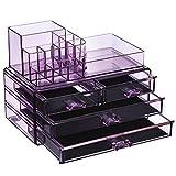 SONGMICS Make-up Organizer, Kosmetik-Organizer mit 4 Schubladen und 11 Fächern in unterschiedlichen Größen, rutschfeste Einlagen, für Schminke und Schmuck, lavendelfarben JKA001PL