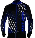 Radtrikot Trikott Langarm Fahrradtrikot Fahrradshirt Fahrradbekleidung Herren Damen Unisex Fahrrad Radsport Thermo Atmungsaktiv Jersey Reißverschluss Shirt Reflektoren Schnelltrokend SR0032 Stanteks (Schwarz-blau, XXL)