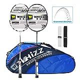 Whizz Badminton Schläger Set Racket 100% Graphit Carbon 2 STK. Verbesserte Version mit Rahmen Schutzhülle & Schlägertasche & 2 Griffbänder (Schwarz+Weiss)