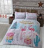 clicktostyle Bettwäsche-Set mit Kissenbezügen, weihnachtliches Weihnachtsdesign, Polycotton, Flamingo Christmas, Einzelbett
