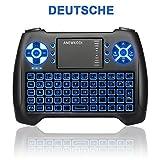 ANEWKODI Mini Kabellose Beleuchtete Tastatur Touchpad-Maus Combo, T16 2.4GHz QWERTZ Keyboard, Mini Wireless Tastatur Fernbedienung, für Smart TV, HTPC, IPTV, Android TV Box, XBOX360, PS3, PC, usw.