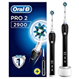 Oral-B Pro 2 2900 Elektrische Zahnbürste, mit zwei CrossAction Aufsteckbürsten, Bonus Pack mit 2 Handstücken, schwarz