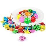 Comius Spielzeugkreisel aus Holz, 30 Stück Kreisel aus Holz, Holzkreisel Bemalung farbenfroher und Verschiedenen Mustern bieten einen tollen Effekt beim Drehen