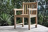 SAM Teak-Holz Gartensessel Caracas, Gartenstuhl, Sessel mit Armlehnen, aus Massivholz, ideal für Balkon, Terrasse oder Garten, angenehmer Sitzkomfort [53263261]