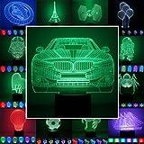 3D Lampe 3D Leuchte 3D LED Stimmungslicht. 7 Farben - 81 verschiedene Motive, hier Auto 1 ca.16x19cm inkl.Sockel - 3D Illusion Dekolicht mit USB Anschluß und 220V USB Netzteil