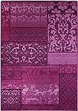 Kurzflorteppich Teppichläufer Orientteppich Vintage Patchwork Orientalisches Muster Used Look– Wohnzimmerteppich Schlafzimmer Flurläufer – Oeko Tex 100 pflegeleicht umkettelt – 160cm x 230cm lila