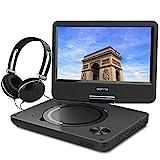 WONNIE 9.5' Tragbarer DVD-Player drehbares HD Display 4 Stunden Akku, Unterstützt USB / SD Slot, AV OUT/IN, mit 1.5M Auto-Ladegerät und Stromadapter (Schwarz)