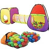 KIDUKU 3-teiliges Kinderspielzelt + Krabbeltunnel + 200 Bälle + Tasche für drinnen und draußen