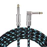Asmuse Instrumentenkabel E Bass Gitarre Kabel Rechtwinkliger Gtarrenkabel Profesionell Lärmschutz 6.3mm 1/4 Zoll für Gitarre Bass Keyboards Amps (5m Blau)