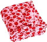 Playshoes Baby und Kinder Fleece-Decke, vielseitig nutzbare Kuscheldecke für Jungen und Mädchen, 75 x 100 cm, mit Erdbeeren-Muster
