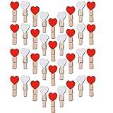 35mm Mini Holzklammern Herz Klammern Holz Deko Klein Wäscheklammern Dekoklammern Holzwäscheklammern Zierklammern (Weiß + Rot) (300 Stück)