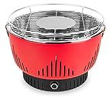 MEDION Holzkohlegrill mit Aktivbelüftung, regelbarer Ventilator, Temperaturregler, Grillrost aus rostfreiem Edelstahl, Abnehmbare Fettauffangschale, MD 17700, rot