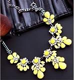 Reixus Statement-Kette, Blumen, Kette und Anhänger, sommerlich, imitierte Edelsteine, gelb