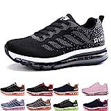 Herren Damen Sportschuhe Laufschuhe mit Luftpolster Turnschuhe Profilsohle Sneakers Leichte Schuhe Gray Pink 42