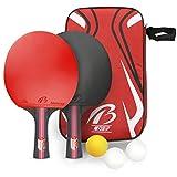 Tencoz Tischtennis-Set, Tischtennisschläger Tischtennis Schläger Ping-Pong-Set Trainings Tischtennis Schläger Set 2 Premium Tischtennis-Schläger + 3 Tischtennis-Bälle + 1 Tragbare Tasche