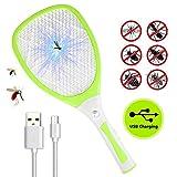 Nasharia Elektrische Fliegenklatsche, Fliegenfänger Moskito Zapper Insektenvernichter mit LED-Beleuchtung und USB wiederaufladbar, DREI Schichten Mesh Schutz (Grün)