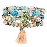 JewelryWe Schmuck 3 PCS Damen Perlen Yoga Armband Chakra Lebensbaum Buddhistische Tibetische Gebetskette Gebet Mala Armband mit Baum des Lebens Anhänger Farbig