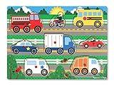 Melissa & Doug Steckpuzzle aus Holz - Fahrzeuge (6 Teile)