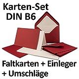 50 Sets | großes Kartenpaket mit 50 Faltkarten, passenden Einlegeblättern in creme & 50 gefütterten Umschlägen (gerippt) DIN B6 in Dunkelrot!