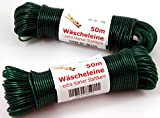 Wäscheleine 50m mit Stahleinlage -K&B Vertrieb- Stahlseil Stahlseilwäscheleine Wäsche Leine extra stark 704 (Grün)
