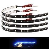 Zimo 20x30cm 15 LED Lichterkette Strips Leiste Streifen Lichtband Beleuchtung Auto Motorrad KFZ 12V wasserdicht blau