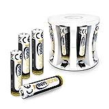 Keenstone AAA Akku mit Ladegerät, 1.2V 1100mAh Micro Wiederaufladbar AAA Batterien NiMH Akkus, geringe Selbstentladung, Ideal für DECT Telefon Fernbedienung Taschenlampe Controller, 8 Stücke