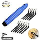 Handentgrater-Werkzeugsatz mit 11 Stück BS1010 360 ° Rotary Entgraterklingen, Gratentferner für Stahl, Aluminium, Kupfer oder Kunststoff