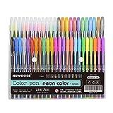 newdoer 48er-Pack farbige Gel-Stifte, die Besten Gelroller für Erwachsenen-Malbücher, zum Zeichnen und Schreiben, mit 1,0-mm-Spitze (12Metallic + 12Glitzer + 12neon + 12waterchalk) 48 pack