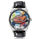 Rugby-Ball Armbanduhr Custom Design Analog Quarz Uhr Silber Zifferblatt Klassische Lederband Damen Herren Armbanduhr