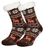 Piarini 1 Paar Kuschelsocken mit ABS Sohle | warme Damen Socken | Wintersocken mit Anti Rutsch Noppen | Eiskristall- Violett (One-Size)