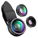 ORIA Handy Kamera Objektiv Kit, 3 in 1 Clip-On Lens Set 198° Fisheye Objektiv + 0.4X Weitwinkel + 15X Makro Objektiv, HD Linsen für iPhone 8/7/6/6plu & Meisten Android Smartphone