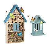 2 tlg. Insektenhotel Set, Schmetterlingshaus aus Holz, Schmetterlingshotel zum Aufhängen, Nisthilfe, Insektenhaus, blau