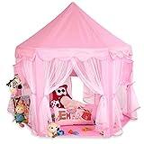 KIDUKU Kinderspielzelt Spielschloss Prinzessinenschloss Spielzelt Bällebad Spielhöhle mit Hängenetzen, in 3 Farbvarianten (Pink)