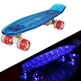 57cm Mini Cruiser Retro Skateboard Komplettboard Vintage Skate Board mit Kunststoff Deck und blinkenden LED-Rollen für Jugendliche und Erwachsene Jungen Mädchen Kinder