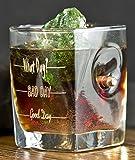 Whisky Glas mit realem Geschoß und Gravur - God Day - Bad Day - What Day? - Geschenkideen Trink Glas