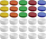 15 Salbendöschen, Creme-döschen, Salbenkruke flach, 12ml Inhalt mit farbigen Deckeln - MADE IN GERMANY
