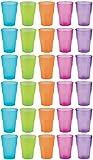 idea-station PP Plastik-Gläser mehrweg 350 ml 30 Stück, bunt, stapelbar auch als Wasser-Gläser, Whiskey-Gläser, Cocktail-Gläser, Longdrink-Gläser einsetzbar, Party-Becher für Beer-Pong, Plastik-Becher sind bruchsicher, unzerbrechlich